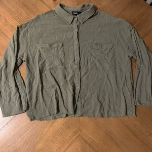 Lulus Olive Green Button Down Top